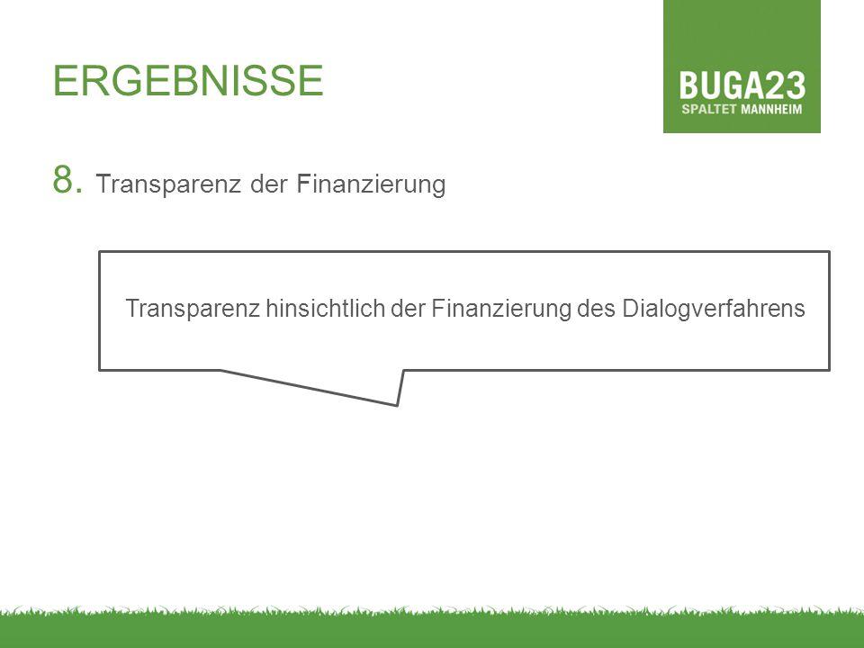 ERGEBNISSE 8. Transparenz der Finanzierung Transparenz hinsichtlich der Finanzierung des Dialogverfahrens
