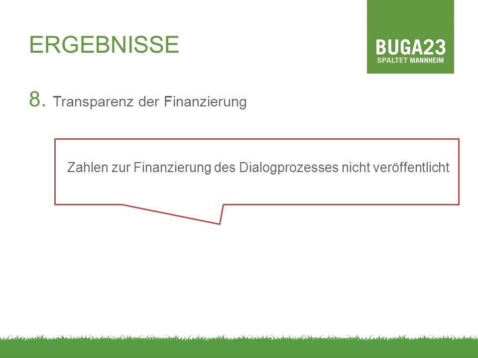 ERGEBNISSE 8. Transparenz der Finanzierung Zahlen zur Finanzierung des Dialogprozesses nicht veröffentlicht