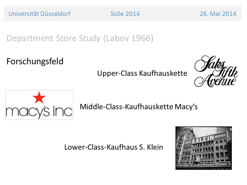 Universität Düsseldorf SoSe 2014 26. Mai 2014 Department Store Study (Labov 1966) Forschungsfeld Upper-Class Kaufhauskette Middle-Class-Kaufhauskette