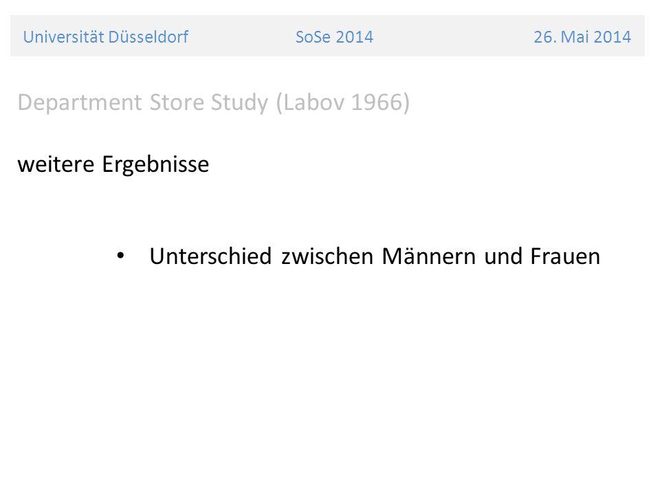 Universität Düsseldorf SoSe 2014 26. Mai 2014 Department Store Study (Labov 1966) weitere Ergebnisse Unterschied zwischen Männern und Frauen