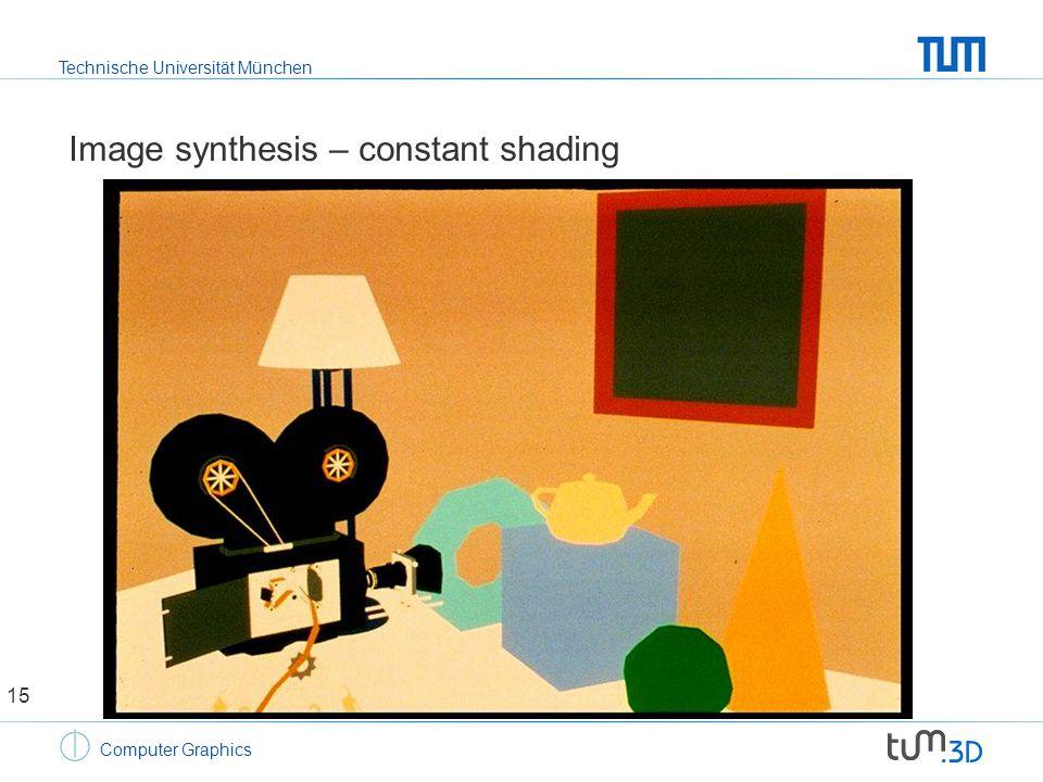 Technische Universität München Computer Graphics Image synthesis – constant shading 15