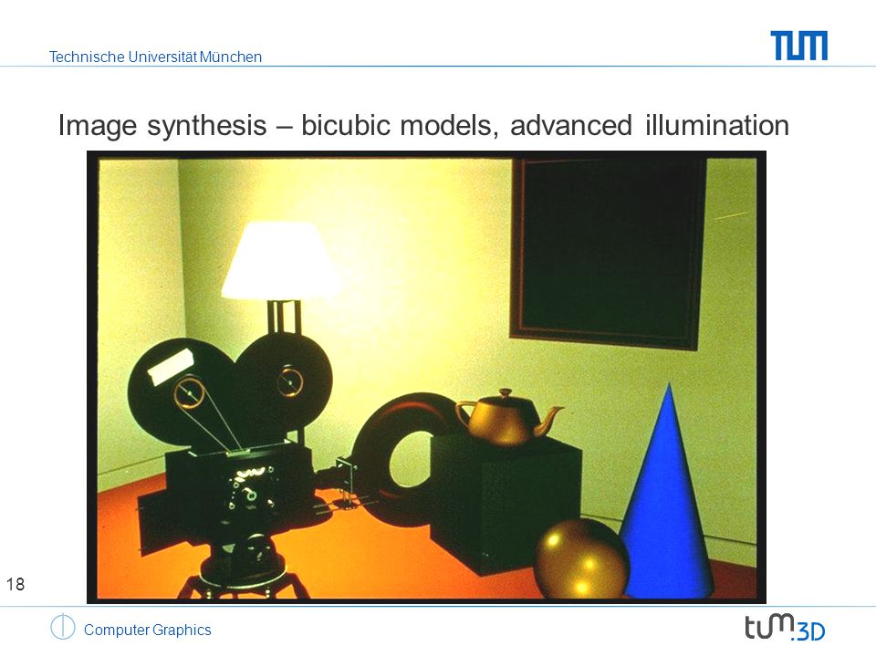 Technische Universität München Computer Graphics Image synthesis – bicubic models, advanced illumination 18