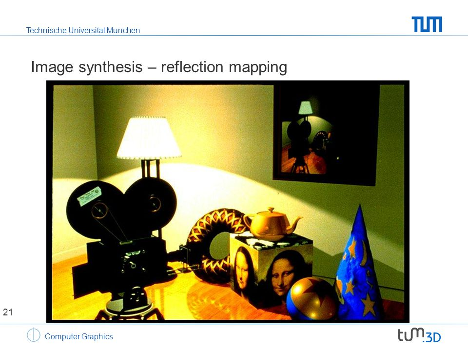 Technische Universität München Computer Graphics Image synthesis – reflection mapping 21