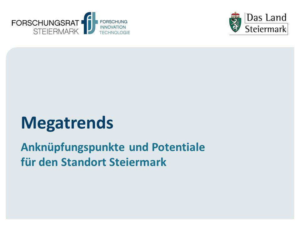 2 Hintergrund  Künftige Herausforderungen und Chancen:  Wahrnehmung der Bedeutung auf allen Politikebenen (siehe EU: Grand Challenges, H2020), Systemic Innovation (OECD), Smart Specialization (OECD, EU)  Megatrends haben übergeordneten generischer Charakter (Jahrzehnte) sind miteinander verbunden und mit gesellschaftlichen Herausforderungen verknüpft.