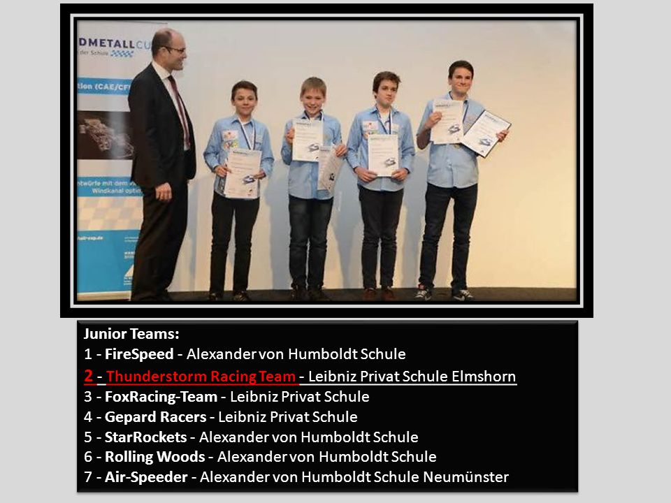 Junior Teams: 1 - FireSpeed - Alexander von Humboldt Schule 2 - Thunderstorm Racing Team - Leibniz Privat Schule Elmshorn 3 - FoxRacing-Team - Leibniz