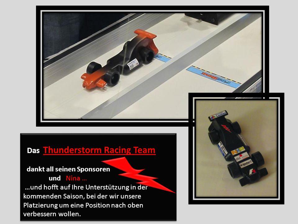 Das Thunderstorm Racing Team dankt all seinen Sponsoren und Nina … …und hofft auf Ihre Unterstützung in der kommenden Saison, bei der wir unsere Platzierung um eine Position nach oben verbessern wollen.