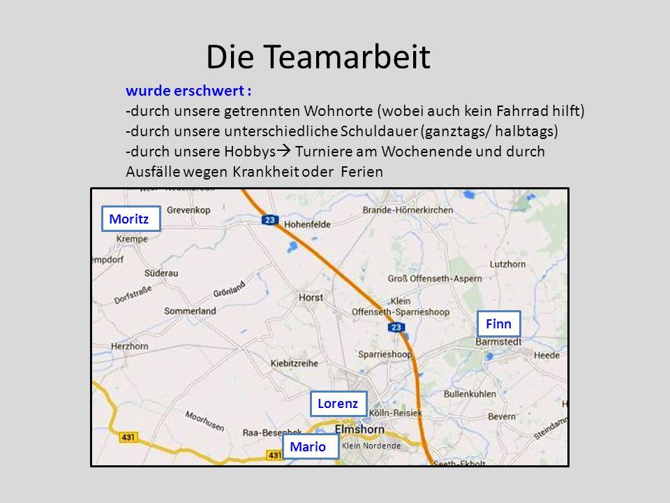 Die Teamarbeit Moritz Finn Lorenz Mario Klein Nordende wurde erschwert : -durch unsere getrennten Wohnorte (wobei auch kein Fahrrad hilft) -durch unse