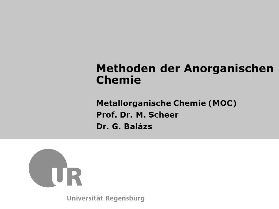 31 P-NMR-Spektroskopie in metallorganischen Komplexen Eigenschaften:  gut geeignet für NMR Spektroskopie Isotope 31 P Natural abundance /%100 Spin (I) 1/21/2 Frequency relative to 1 H = 100 (MHz)40.48 Receptivity, D P, relative to 1 H = 1.000.067 Receptivity, D C, relative to 13 C = 1.00391 Magnetogyric ratio, γ (10 7 rad T -1 s -1 )10.84 Magnetic moment, μ (μ N )1.96 Nuclear quadrupole moment, Q/millibarn-