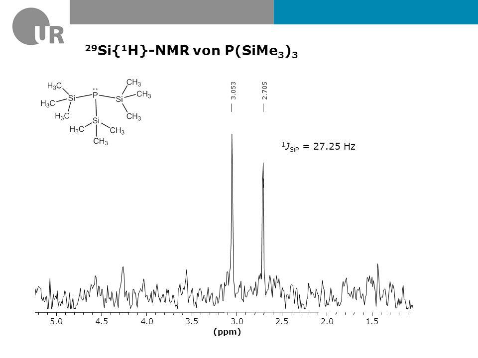 29 Si-NMR von P(SiMe 3 ) 3 1 2 3.35123.25983.17603.09223.00842.92462.83632.75102.66722.58342.49962.4128 (ppm) 1.52.02.53.03.54.0