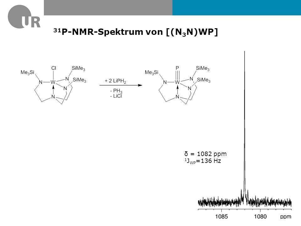 31 P-NMR-Spektrum von [(N 3 N)W(PSe)] δ = 352.5 ppm Isotope 77 Se Natural abundance /%7.63 Spin (I) 1/21/2 Frequency relative to 1 H = 100 (MHz)19.07 Receptivity, D P, relative to 1 H = 1.000.0005 Receptivity, D C, relative to 13 C = 1.003.07 Magnetogyric ratio, γ (10 7 rad T -1 s -1 )5.13 Magnetic moment, μ (μ N )0.93 Nuclear quadrupole moment, Q/millibarn- 1 J PSe = 790 Hz 1 J PW = 727 Hz