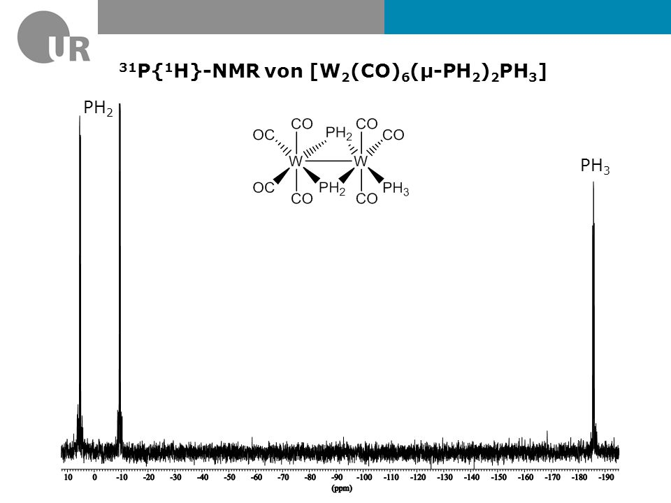 31 P{ 1 H}-NMR von [W 2 (CO) 6 (µ-PH 2 ) 2 PH 3 ] PH 3 PH 2