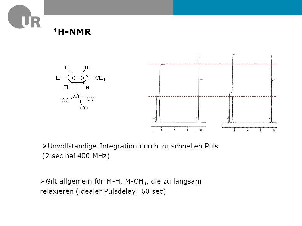 Ti-NMR von [Ti( 13 CO) 6 ] 2- Isotope 47 Ti 49 Ti Natural abundance /%7.445.41 Spin (I) 5/25/2 7/27/2 Frequency relative to 1 H = 100 (MHz) 5.64 Receptivity, D P, relative to 1 H = 1.00 0.0002 Receptivity, D C, relative to 13 C = 1.00 0.9181.20 Magnetogyric ratio, γ (10 7 rad T -1 s -1 ) -1.51 Magnetic moment, μ (μ N )-0.93-1.25 Nuclear quadrupole moment, Q/millibarn 302247 Beim Metalle die Sateliten müssen nicht symmetrisch sein J.