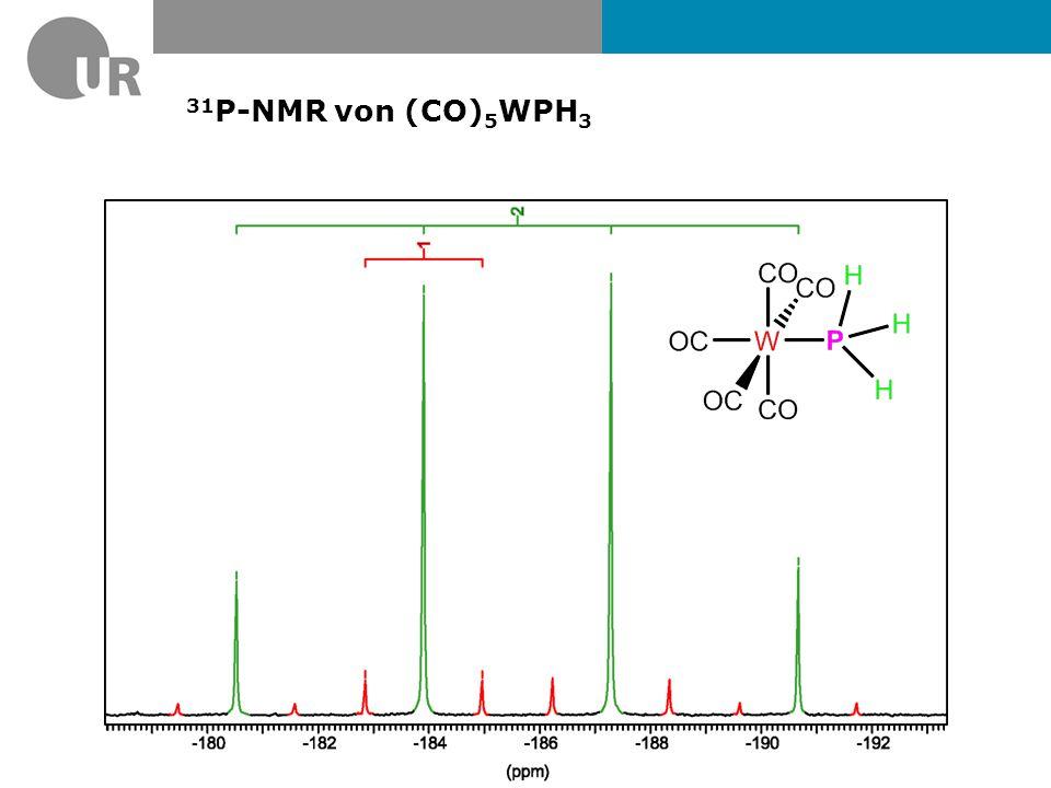 13 C{ 1 H} – NMR von [W(CO) 5 PH 3 ] (400 MHz, C 6 D 6 ) W(CO) 5 (PH 3 ): 195 ppm (d, 2 J PC =7 Hz, 1 J WC = 125 Hz, 4C, CO cis ) 198 ppm (d, 2 J PC =23 Hz, 1 J WC = 152 Hz, 1C, CO trans ) W(CO) 6 : 191 ppm (s, 6C, CO) Keine 183 W-Satelliten erkennbar (< 3% Anteil am Produkt)