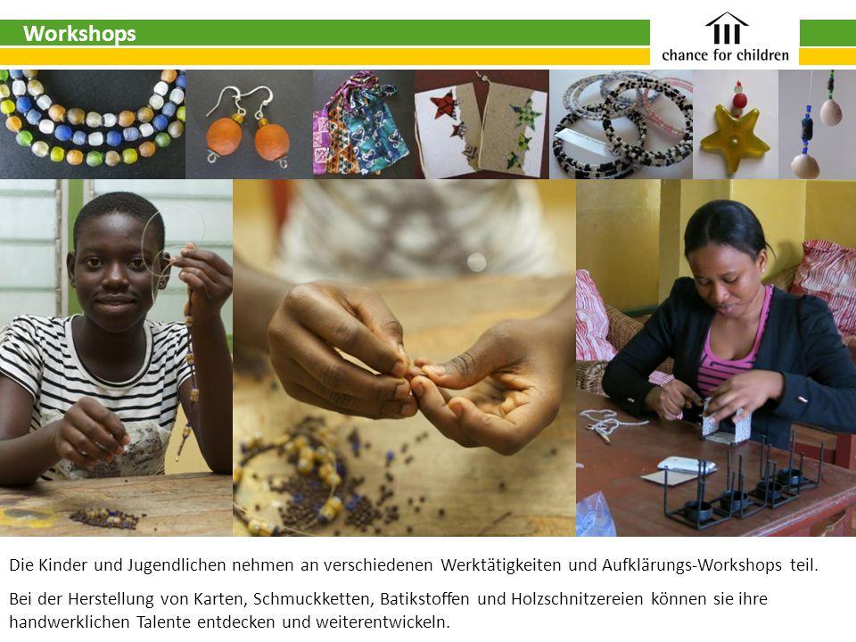Die Kinder und Jugendlichen nehmen an verschiedenen Werktätigkeiten und Aufklärungs-Workshops teil.