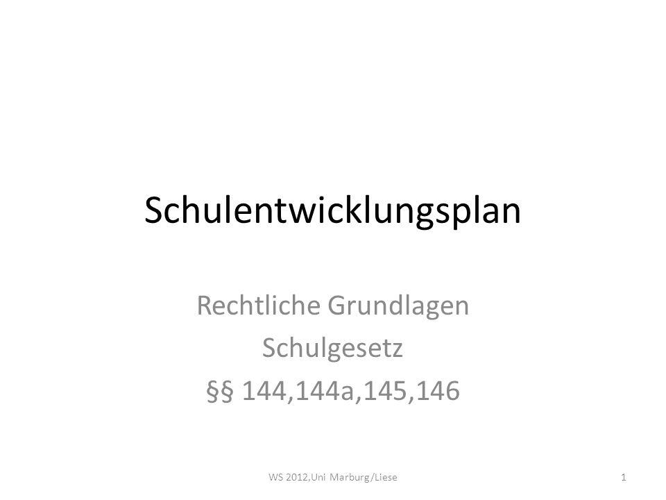 Schulentwicklungsplan Rechtliche Grundlagen Schulgesetz §§ 144,144a,145,146 1WS 2012,Uni Marburg/Liese