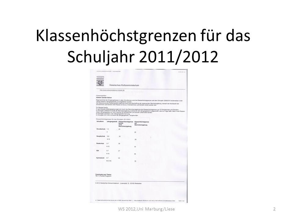 2 Klassenhöchstgrenzen für das Schuljahr 2011/2012