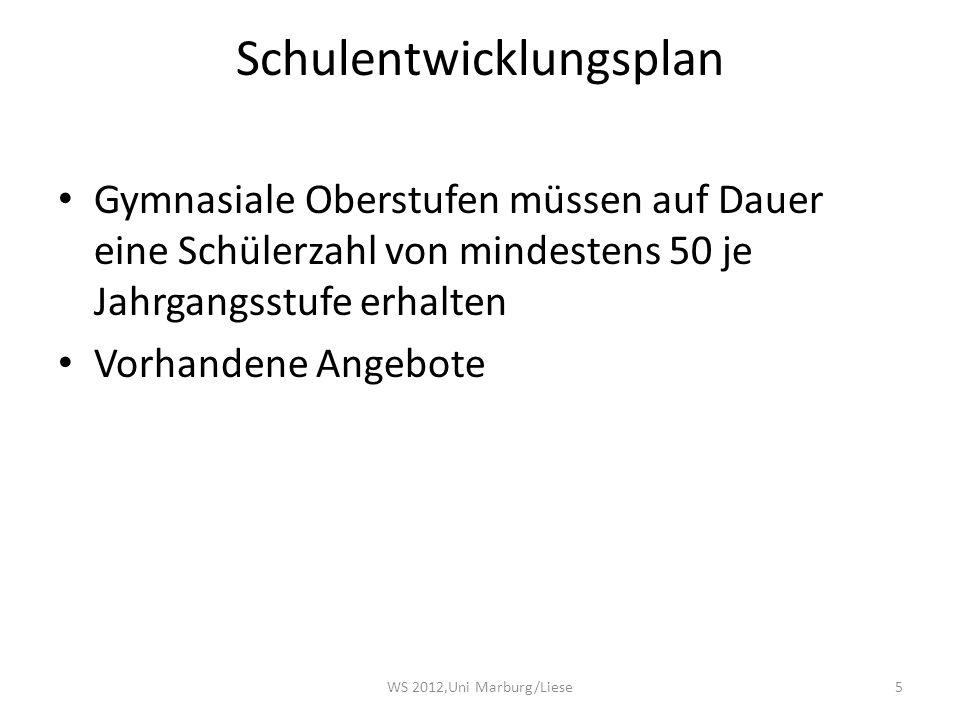 Schulentwicklungsplan Gymnasiale Oberstufen müssen auf Dauer eine Schülerzahl von mindestens 50 je Jahrgangsstufe erhalten Vorhandene Angebote 5WS 2012,Uni Marburg/Liese