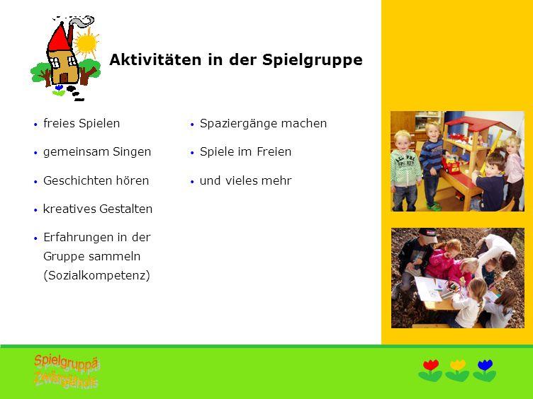 Angebot 2014/15 Spielgruppenjahr 1.September bis 30.