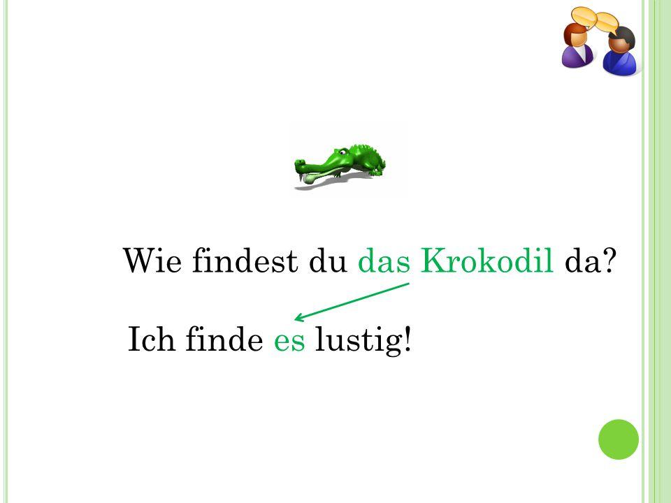 Wie findest du das Krokodil da? Ich finde es lustig!