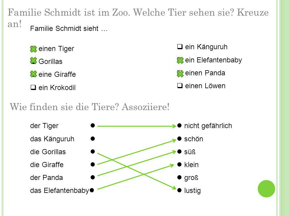 Familie Schmidt ist im Zoo. Welche Tier sehen sie? Kreuze an! Familie Schmidt sieht …  einen Tiger  Gorillas  eine Giraffe  ein Krokodil  ein Kän