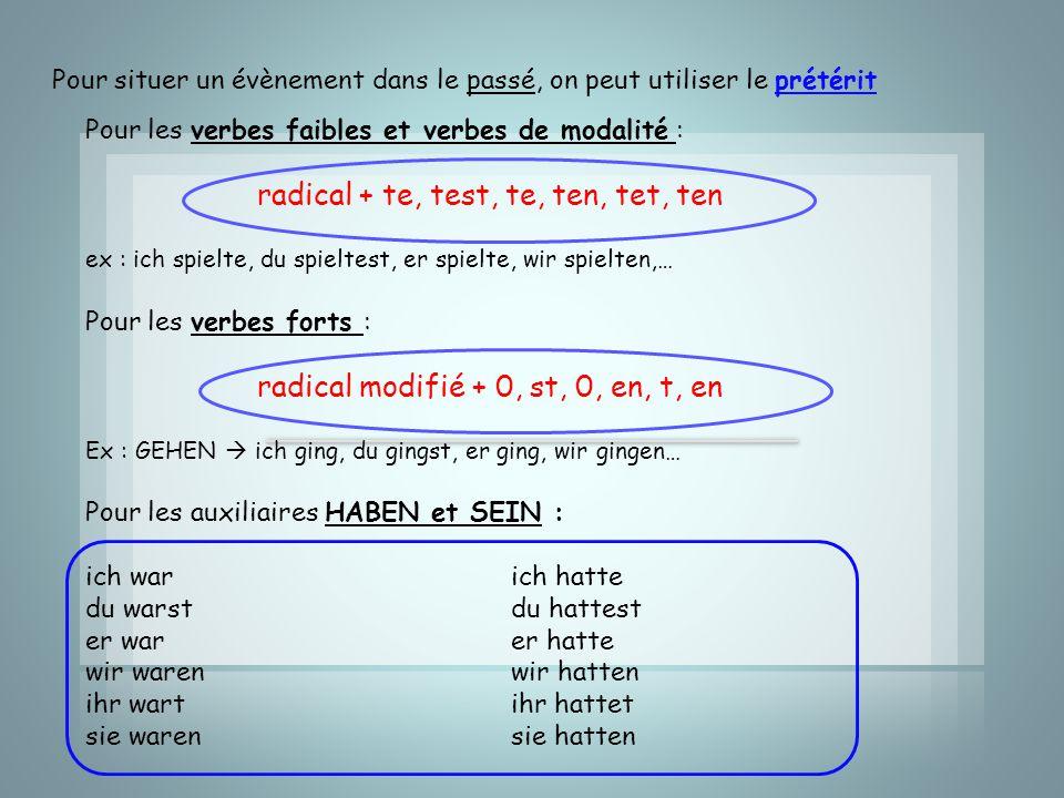 Pour situer un évènement dans le passé, on peut utiliser le prétérit Pour les verbes faibles et verbes de modalité : radical + te, test, te, ten, tet,