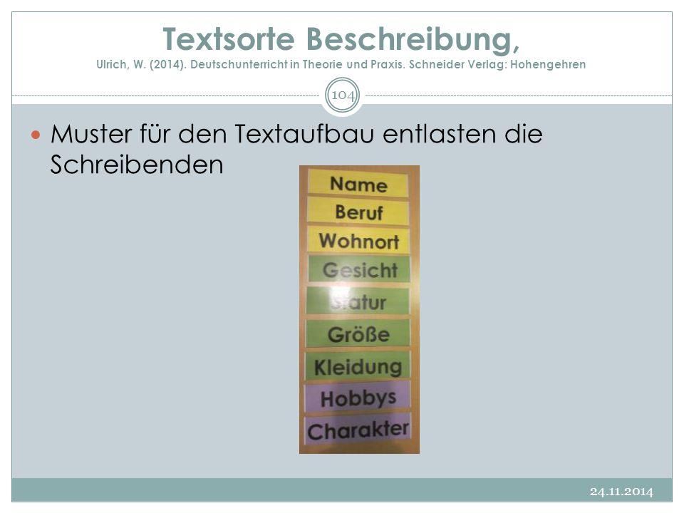 Textsorte Beschreibung, Ulrich, W. (2014). Deutschunterricht in Theorie und Praxis. Schneider Verlag: Hohengehren Muster für den Textaufbau entlasten