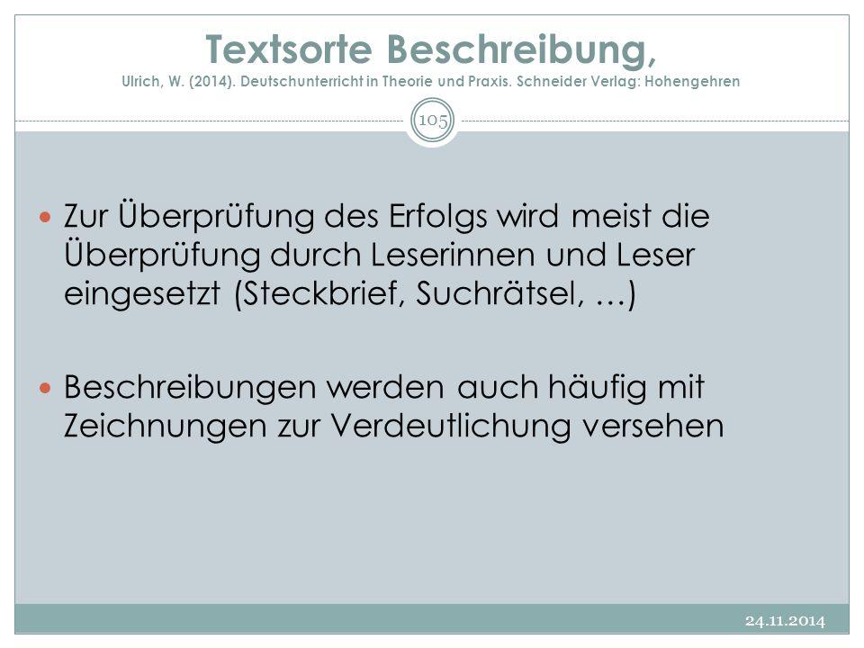 Textsorte Beschreibung, Ulrich, W. (2014). Deutschunterricht in Theorie und Praxis. Schneider Verlag: Hohengehren Zur Überprüfung des Erfolgs wird mei