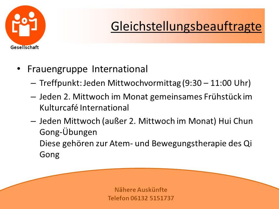 Gesellschaft Gleichstellungsbeauftragte Frauengruppe International – Treffpunkt: Jeden Mittwochvormittag (9:30 – 11:00 Uhr) – Jeden 2.