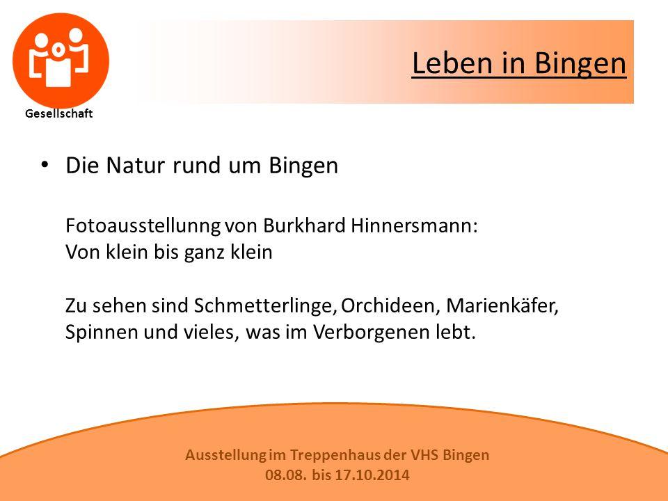 Leben in Bingen Die Natur rund um Bingen Fotoausstellunng von Burkhard Hinnersmann: Von klein bis ganz klein Zu sehen sind Schmetterlinge, Orchideen, Marienkäfer, Spinnen und vieles, was im Verborgenen lebt.