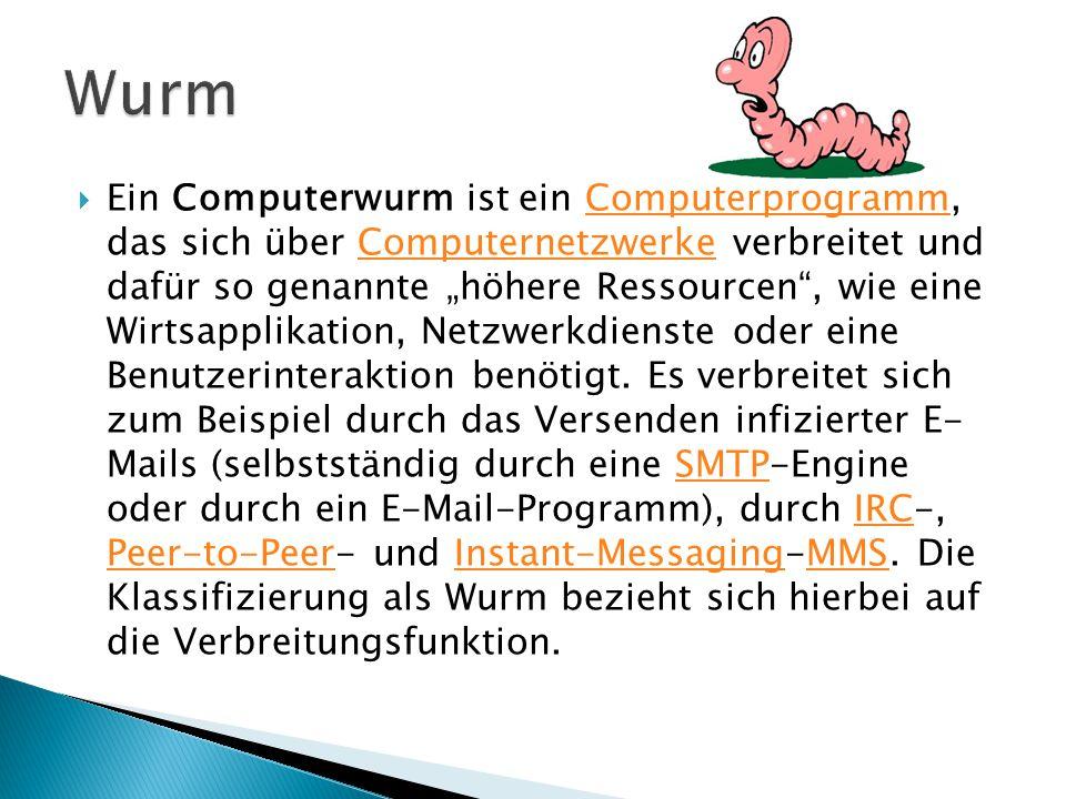 """ Ein Computerwurm ist ein Computerprogramm, das sich über Computernetzwerke verbreitet und dafür so genannte """"höhere Ressourcen , wie eine Wirtsapplikation, Netzwerkdienste oder eine Benutzerinteraktion benötigt."""