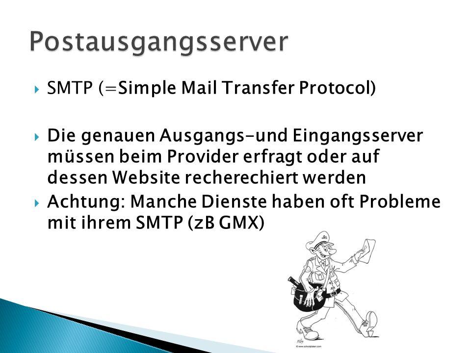  SMTP (=Simple Mail Transfer Protocol)  Die genauen Ausgangs-und Eingangsserver müssen beim Provider erfragt oder auf dessen Website recherechiert werden  Achtung: Manche Dienste haben oft Probleme mit ihrem SMTP (zB GMX)
