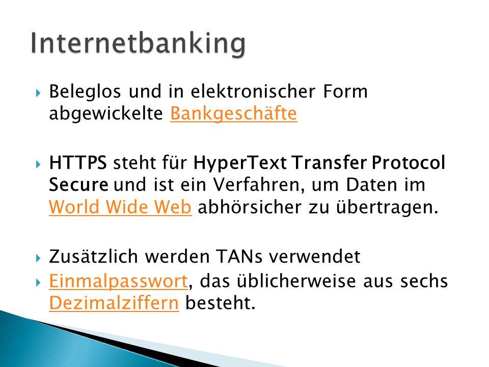  Beleglos und in elektronischer Form abgewickelte BankgeschäfteBankgeschäfte  HTTPS steht für HyperText Transfer Protocol Secure und ist ein Verfahren, um Daten im World Wide Web abhörsicher zu übertragen.