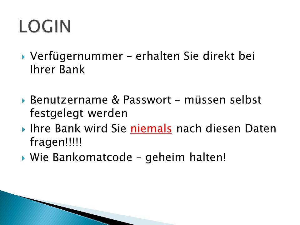  Verfügernummer – erhalten Sie direkt bei Ihrer Bank  Benutzername & Passwort – müssen selbst festgelegt werden  Ihre Bank wird Sie niemals nach diesen Daten fragen!!!!.