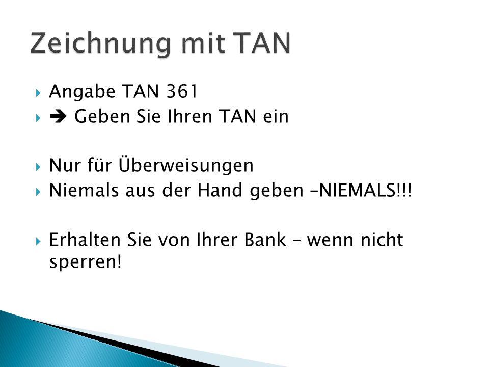  Angabe TAN 361   Geben Sie Ihren TAN ein  Nur für Überweisungen  Niemals aus der Hand geben –NIEMALS!!.