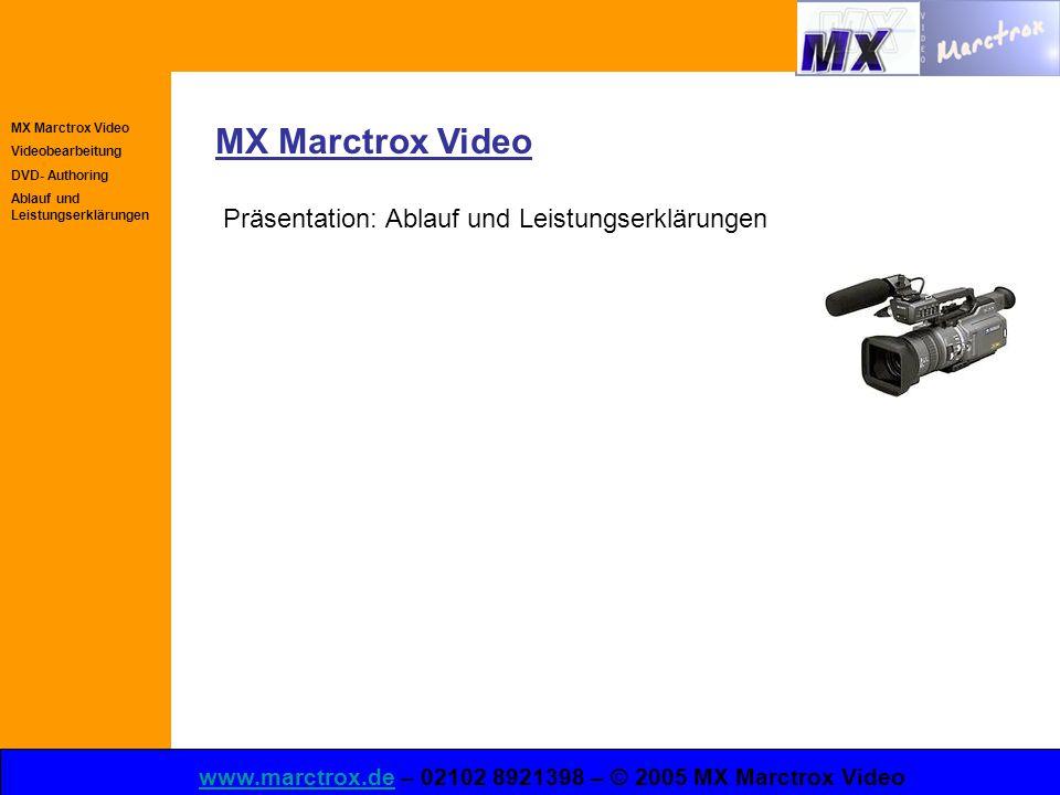 MX Marctrox Video Videobearbeitung DVD- Authoring Ablauf und Leistungserklärungen www.marctrox.dewww.marctrox.de – 02102 8921398 – © 2005 MX Marctrox Video MX Marctrox Video Präsentation: Ablauf und Leistungserklärungen