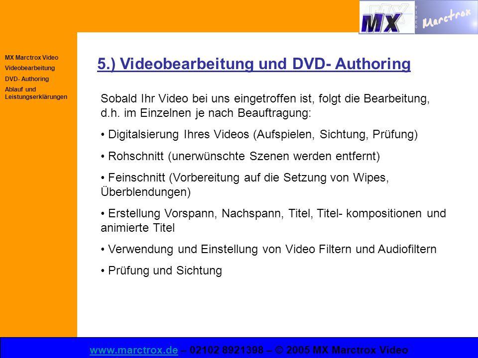 MX Marctrox Video Videobearbeitung DVD- Authoring Ablauf und Leistungserklärungen www.marctrox.dewww.marctrox.de – 02102 8921398 – © 2005 MX Marctrox Video 5.) Videobearbeitung und DVD- Authoring Sobald Ihr Video bei uns eingetroffen ist, folgt die Bearbeitung, d.h.