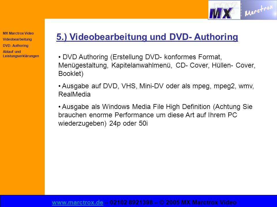 MX Marctrox Video Videobearbeitung DVD- Authoring Ablauf und Leistungserklärungen www.marctrox.dewww.marctrox.de – 02102 8921398 – © 2005 MX Marctrox Video 5.) Videobearbeitung und DVD- Authoring DVD Authoring (Erstellung DVD- konformes Format, Menügestaltung, Kapitelanwahlmenü, CD- Cover, Hüllen- Cover, Booklet) Ausgabe auf DVD, VHS, Mini-DV oder als mpeg, mpeg2, wmv, RealMedia Ausgabe als Windows Media File High Definition (Achtung Sie brauchen enorme Performance um diese Art auf Ihrem PC wiederzugeben) 24p oder 50i