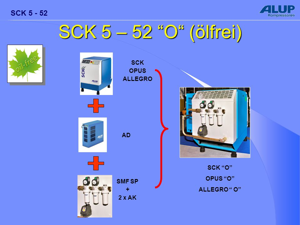 "SCK 5 - 52 SCK ""O"" OPUS ""O"" ALLEGRO "" O"" SCK OPUS ALLEGRO AD SMF SP + 2 x AK SCK 5 – 52 ""O"" (ölfrei)"