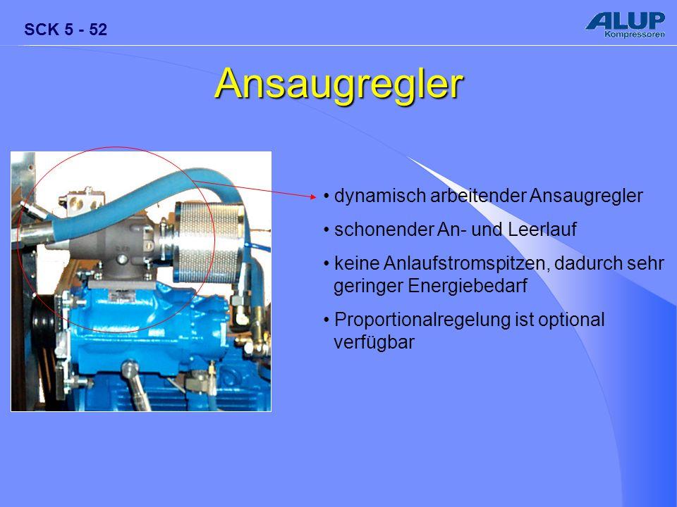 SCK 5 - 52 Ansaugregler dynamisch arbeitender Ansaugregler schonender An- und Leerlauf keine Anlaufstromspitzen, dadurch sehr geringer Energiebedarf P