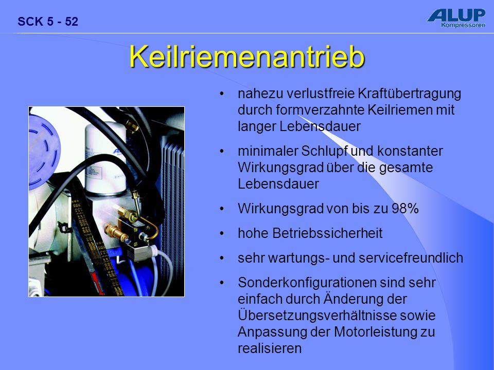 SCK 5 - 52 Keilriemenantrieb nahezu verlustfreie Kraftübertragung durch formverzahnte Keilriemen mit langer Lebensdauer minimaler Schlupf und konstant