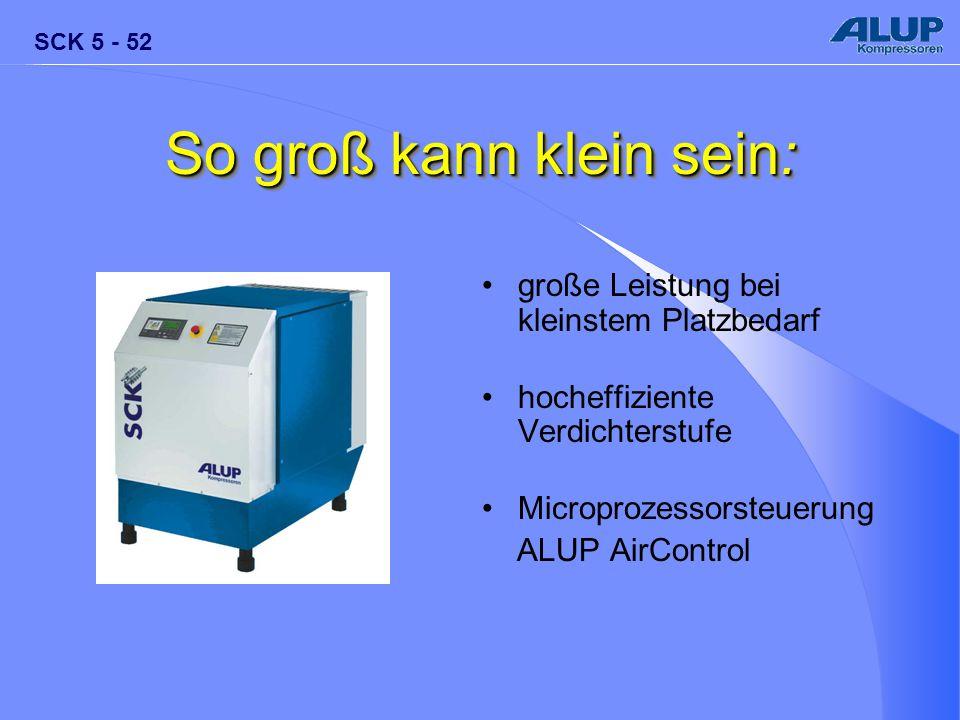 SCK 5 - 52 So groß kann klein sein: große Leistung bei kleinstem Platzbedarf hocheffiziente Verdichterstufe Microprozessorsteuerung ALUP AirControl