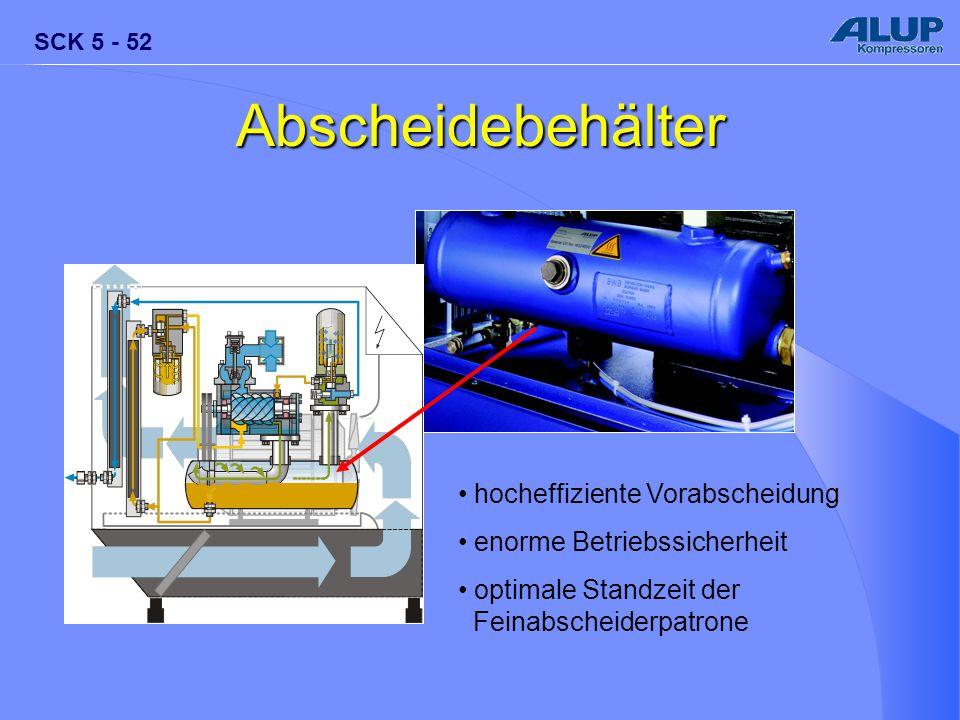 SCK 5 - 52 Abscheidebehälter hocheffiziente Vorabscheidung enorme Betriebssicherheit optimale Standzeit der Feinabscheiderpatrone