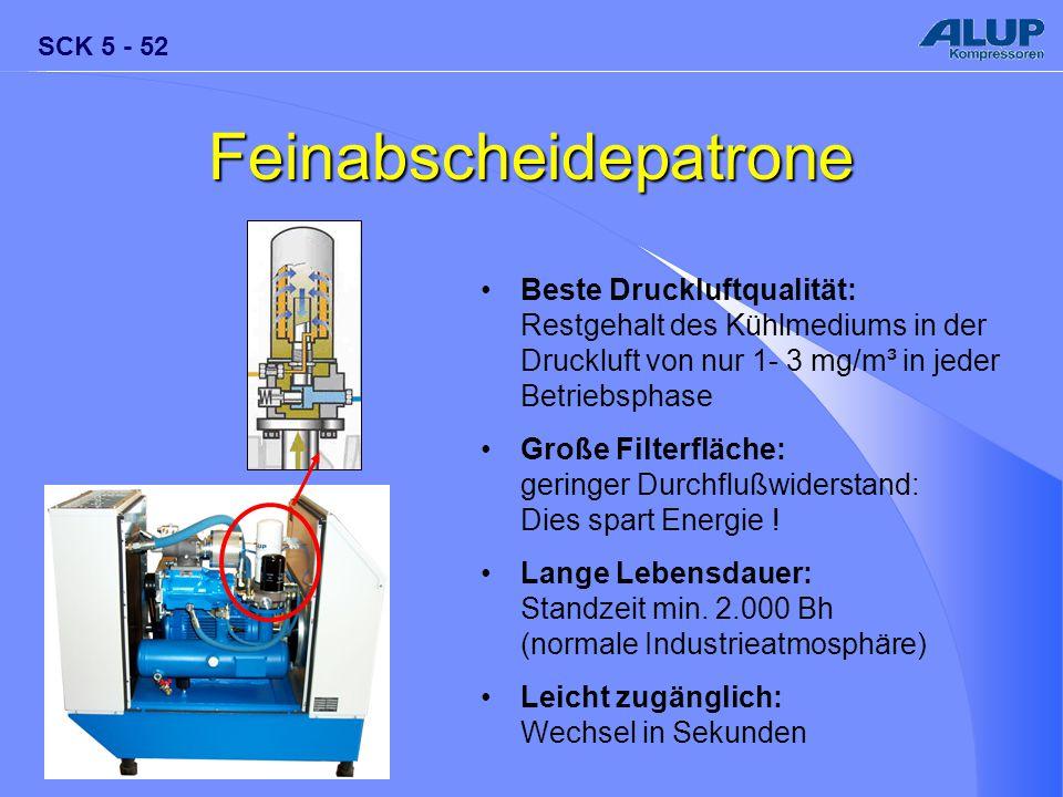 SCK 5 - 52 Feinabscheidepatrone Beste Druckluftqualität: Restgehalt des Kühlmediums in der Druckluft von nur 1- 3 mg/m³ in jeder Betriebsphase Große F