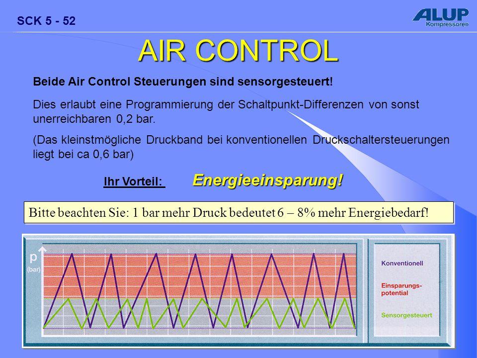 SCK 5 - 52 AIR CONTROL Beide Air Control Steuerungen sind sensorgesteuert! Dies erlaubt eine Programmierung der Schaltpunkt-Differenzen von sonst uner