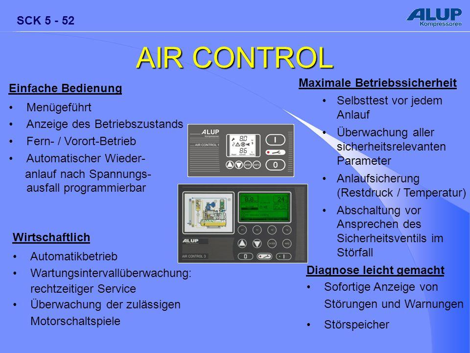 SCK 5 - 52 AIR CONTROL Maximale Betriebssicherheit Selbsttest vor jedem Anlauf Überwachung aller sicherheitsrelevanten Parameter Anlaufsicherung (Rest