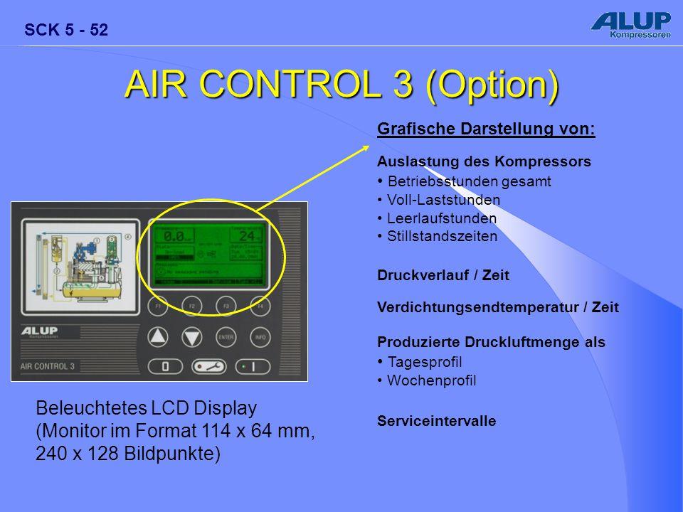 SCK 5 - 52 AIR CONTROL 3 (Option) Beleuchtetes LCD Display (Monitor im Format 114 x 64 mm, 240 x 128 Bildpunkte) Grafische Darstellung von: Auslastung
