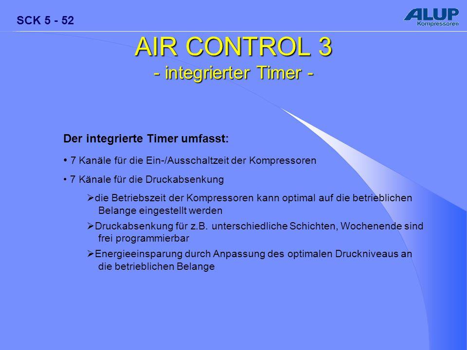 SCK 5 - 52 AIR CONTROL 3 - integrierter Timer - Der integrierte Timer umfasst: 7 Kanäle für die Ein-/Ausschaltzeit der Kompressoren 7 Känale für die D