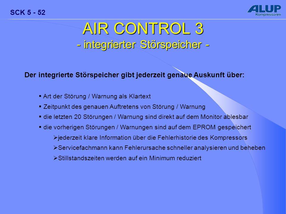 SCK 5 - 52 AIR CONTROL 3 - integrierter Störspeicher - Der integrierte Störspeicher gibt jederzeit genaue Auskunft über:  Art der Störung / Warnung a