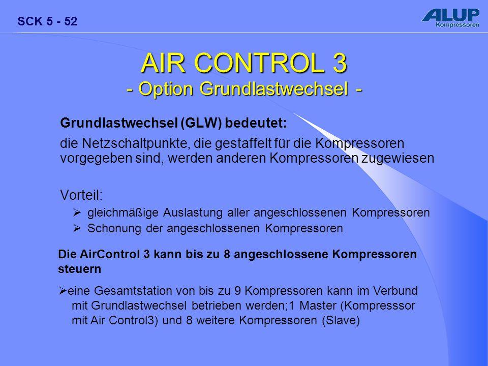 SCK 5 - 52 AIR CONTROL 3 - Option Grundlastwechsel - Grundlastwechsel (GLW) bedeutet: die Netzschaltpunkte, die gestaffelt für die Kompressoren vorgeg