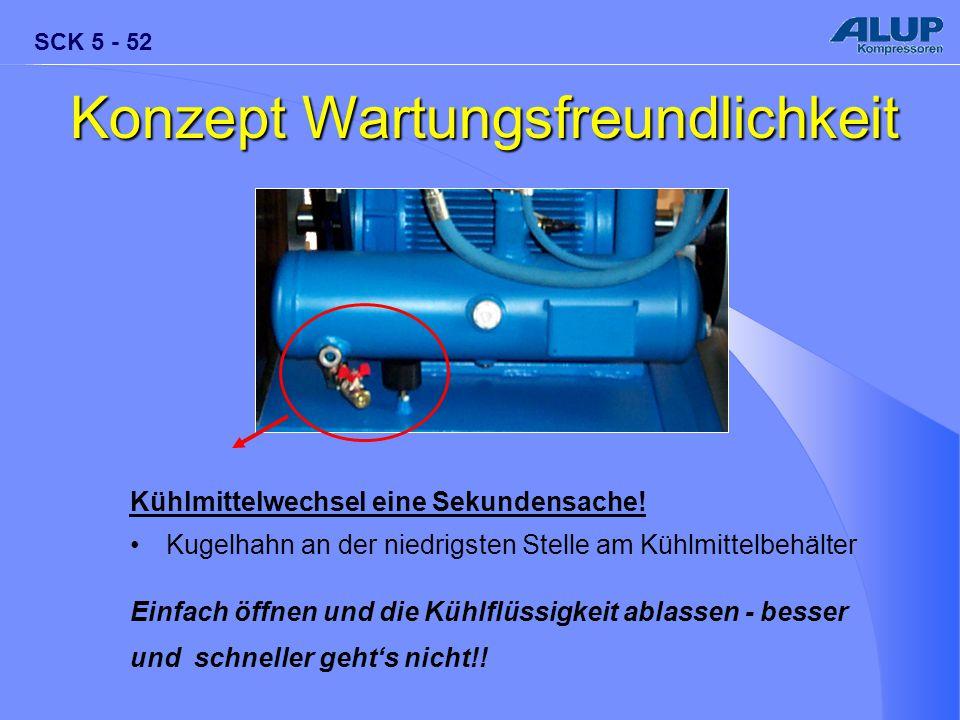 SCK 5 - 52 Kühlmittelwechsel eine Sekundensache! Kugelhahn an der niedrigsten Stelle am Kühlmittelbehälter Einfach öffnen und die Kühlflüssigkeit abla